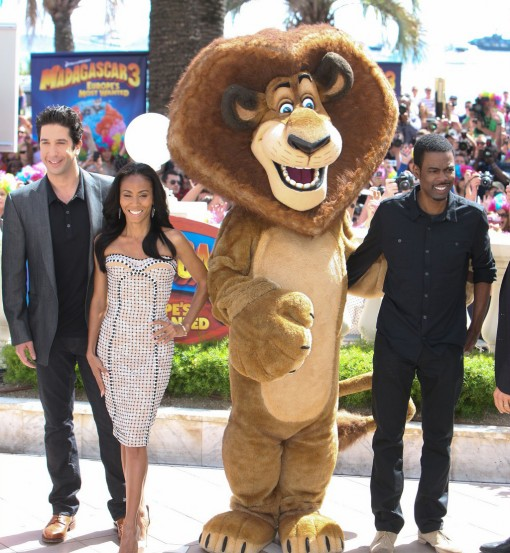 (from left) David Schwimmer, Jada Pinkett Smith and Chris Rock of Madagascar 3: Europe's Most Wanted at the 2012 Cannes Film Festival