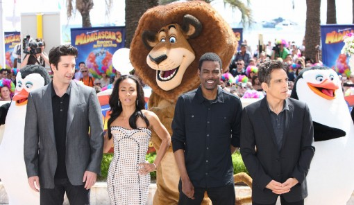 (from left) David Schwimmer, Jada Pinkett Smith, Chris Rock and Ben Stiller of Madagascar 3: Europe's Most Wanted at the 2012 Cannes Film Festival