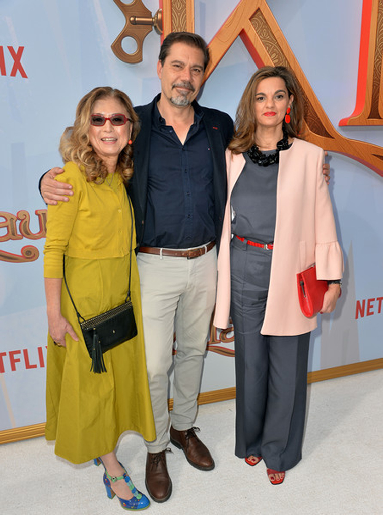 L-R: Producer Jinko Gotoh, director Sergio Pablos & producer Marisa Roman at the Klaus premiere