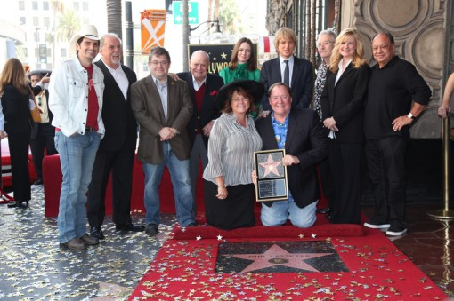 Nancy Lasseter, Chief Creative Officer, Walt Disney and Pixar Animation Studios and Principal Creative Advisor, Walt Disney Imagineering John Lasseter, Brad Paisley, John Ratzenberger, Patton Oswalt, Don Rickles, Emily Mortimer, Owen Wilson, Randy Newman, Bonnie Hunt, Cheech Marin attend John Lasseter's Star Ceremony in front of the El Capitan Theatre in Hollywood, CA on Tuesday, November 1, 2011. (Alex J. Berliner/ABImages)