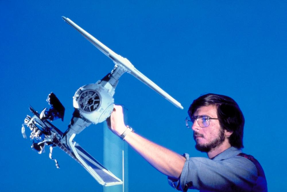 VES Fellow Ken Ralson prepares to shoot an asteroid damaged T.I.E. fighter for Star Wars: The Empire Strikes Back (1980)