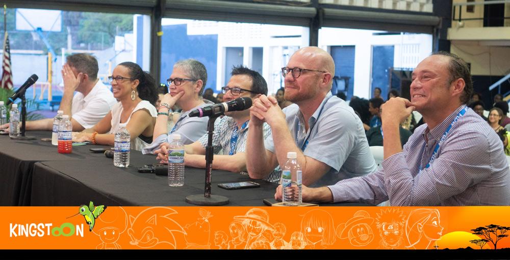 Pitch judges (L-R) Matt Fleckenstein (Golden Apple Prod.), Kim Wright (Sesame Workshop), Raquel Benitez (Comet Ent.), Mike Blum (Pipsqueak Animation), Jeff Brustrom (Brustrom Media), Carlos Biern (Business Dev. Consultant, Office of the Prime Minister)