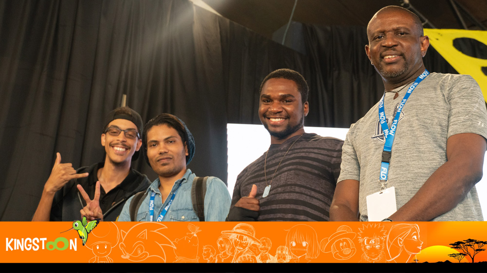 Wacom Cintiq Showdown finalists (L-R) Patrick Meikle, Rajendra Ramkallawan, Delano Dolphy, winner George Hay.