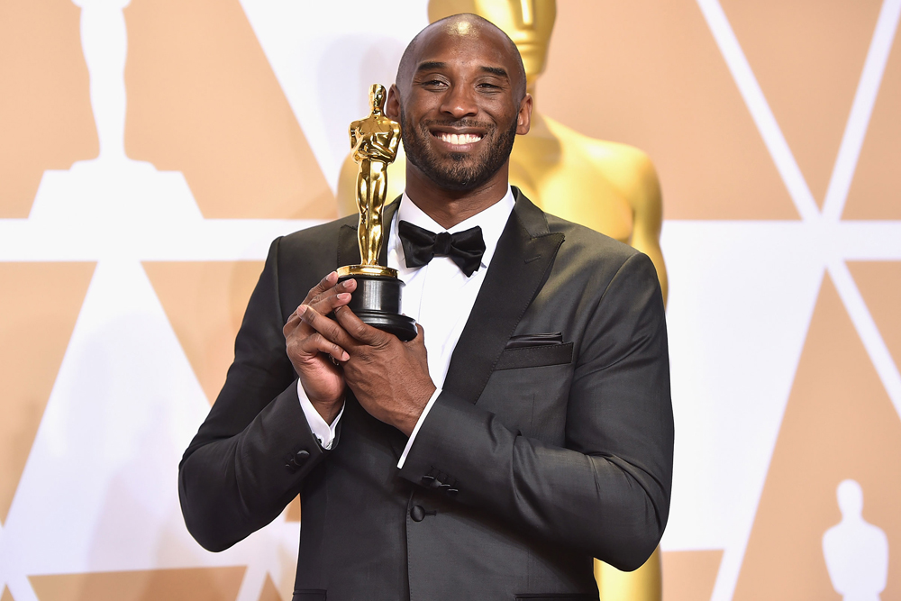 Kobe Bryant, winner of the Best Animated Short Film award for 'Dear Basketball,' poses in the press room during the 90th Annual Academy Awards at Hollywood & Highland Center on March 4, 2018 in Hollywood, California. (Photo by Alberto E. Rodriguez/Getty Images)