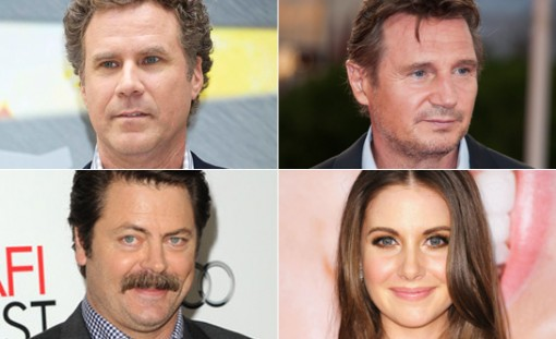 (top left to bottom right) Will Ferrell, Liam Neeson, Nick Offerman and Alison Brie