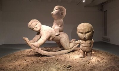 "Sculpture at Li Chen's ""Ordinary People"" exhibit. [Photo: Josh Selig]"