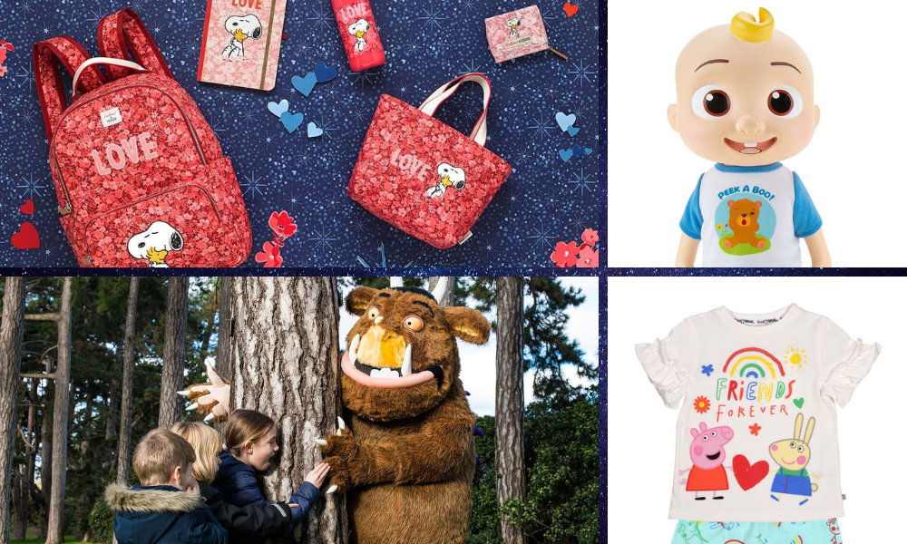 Clockwise from top left: Cath Kidston X Peanuts, Deluxe Interactive JJ (Jazwares/CoComelon), Peppa Pig Organic Cotton Shorty PJs (Brand Threads), The Gruffalo Adventures at Kew Gardens