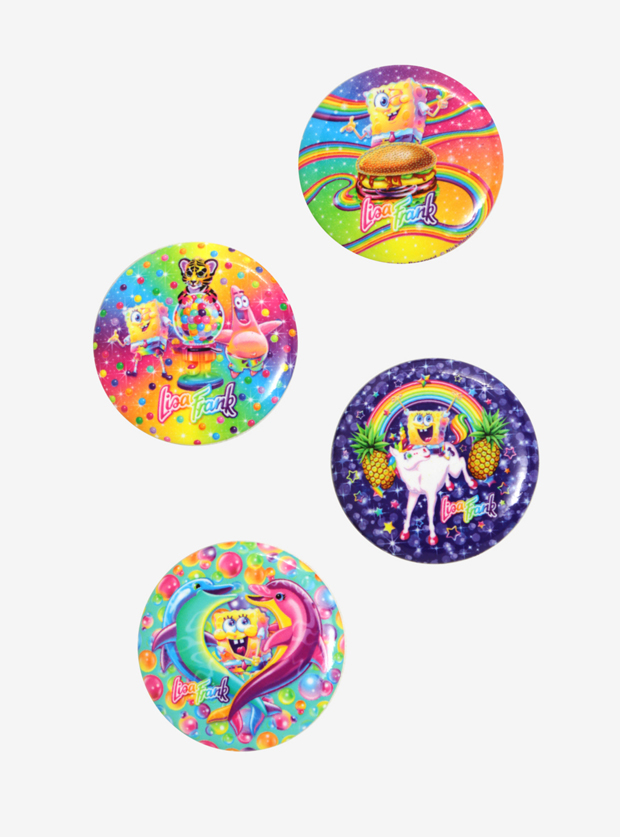 Lisa Frank x SpongeBob 4-count Button Set, $6.99
