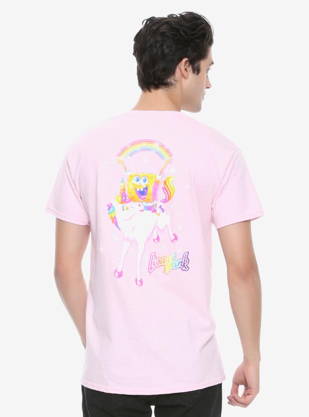 Lisa Frank x SpongeBob Guys Pink Pocket Tee, $22.90