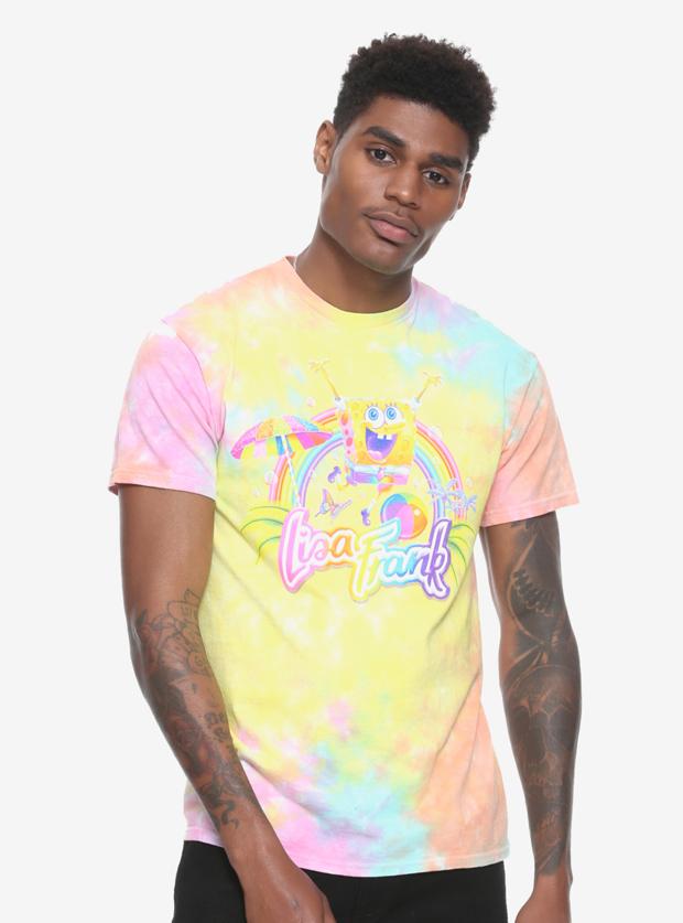 Lisa Frank x SpongeBob Guys Rainbow Tie-Dye Tee, $24.90