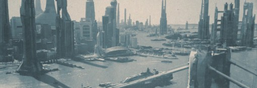 A stylized version of Looper's far-future city, based on Shanghai and rendered by visual effects studio Atomic Fiction. Courtesy of Atomic Fiction. Copyright © 2011 – Looper, LLC