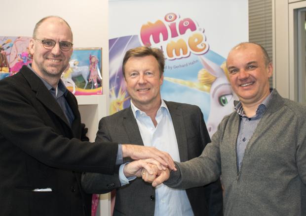 (L-R) Hans Bourlon, CEO of Studio 100 N.V.; Hans Ulrich Stoef, CEO of m4e AG; and Koen Peeters, CFO of Studio 100 N.V.