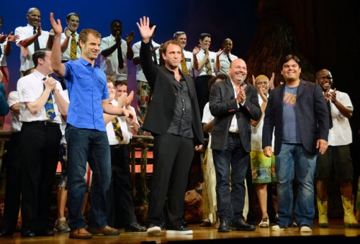 (from left) Matt Stone, Trey Parker, Casey Nicholaw and Robert Lopez at the Los Angeles opening of The Book of Mormon.