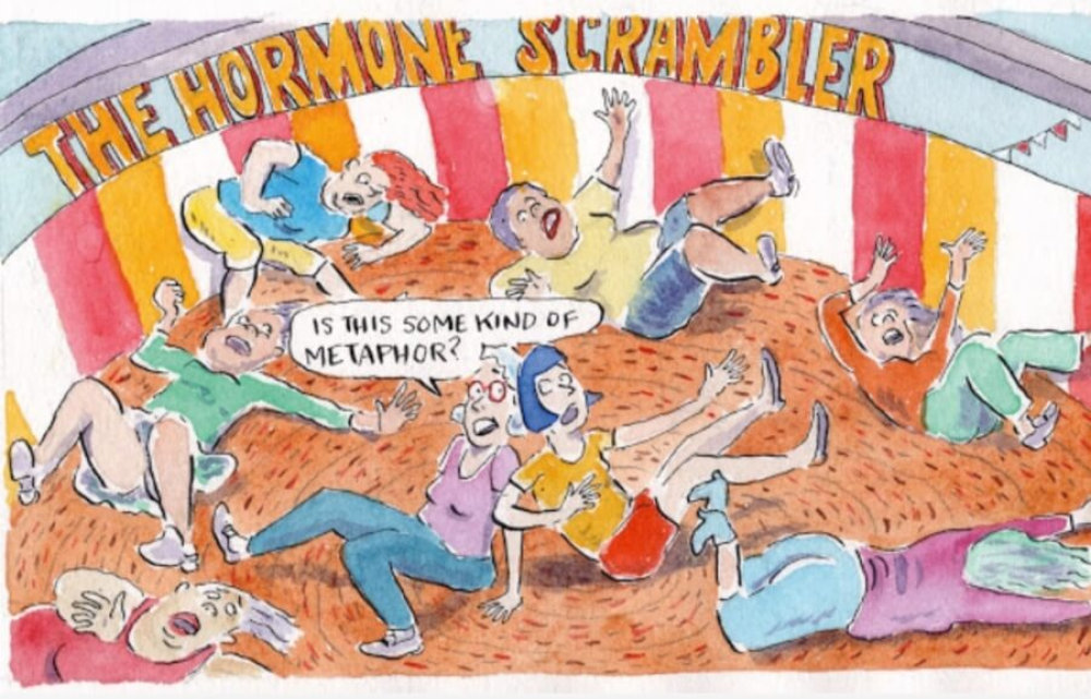 """""""When the Menopausal Carnival Comes to Town"""" (Menopause: A Comic Treatment; Graphic Medicine/Penn. State Univ. Press)"""