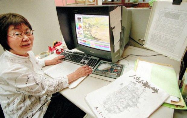 Michiyo Yasuda at Studio Ghibli in 2003. Photo credit: Asahi News