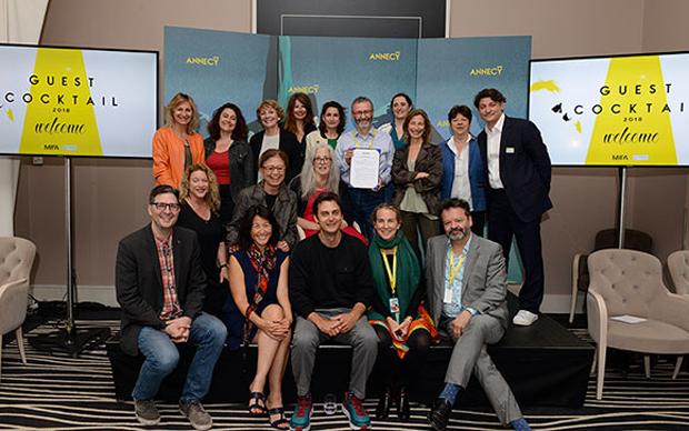 Patrick Eveno, CITIA CEO, with Le Deuxième Regard organisation, Women in Animation, Les Femmes s'Animent, and Mickaël Marin, CITIA Managing Director, Head of Economic Development & Mifa, and Marcel Jean, Artistic Director.