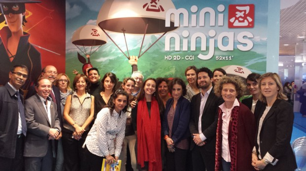 TF1 and Cyber Group Studios' partners on Mini Ninjas, from left: Rajesh K. P., Spectrum Indonesia; Pierre Sissmann, Cyber Group Studios; Luca Milano , Rai Fiction; Stefania Raimondi, Enanimation; Annita Romanelli, Rai Fiction; Federica Maggio, Enanimation; Izabela Rieben, RTS Switzerland; Rani, Spectrum Indonesia; Coralie Pastor, RTBF Belgium; Fernando Hernandez, Clan TV; Carole Brin, Cyber Group Studios; Telidja Klai, VRT Belgium; Caterina Gonnelli, Disney France; Laetitia de Conninck, Télé Québec; Yann Labasque, TF1; Céline Roux, TF1 Production; Giovanna Milano, Redcastle Mediaconsulting; Céline Georges, TF1 Licences; Daphné de Beaufort, TF1 Licences.