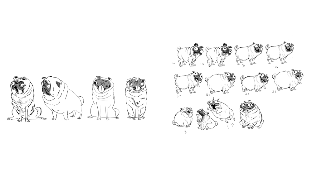 Monchi character design and expression drawings by Lindsey Olivares (Sony Pictures Animation)