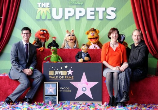 (L-R) Walt Disney Studios President Rich Ross, Jim Henson Company CEO, Lisa Henson and Sean Henson attend the star unveiling for The Muppets who were honored with 2,466th Star on the Hollywood Walk of Fame in front of the El Capitan Theatre on March 20, 2012 in Hollywood, California. (Photo by Frazer Harrison/Getty Images)