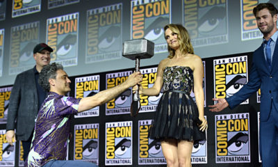(L-R) Kevin Feige, Taika Waititi, Natalie Portman and Chris Hemsworth of Marvel Studios' 'Thor: Love and Thunder' at the San Diego Comic-Con International 2019 Marvel Studios Panel, July 20. [Photo: Alberto E. Rodriguez/Getty Images for Disney]
