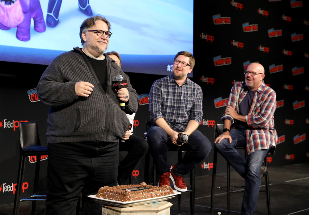 Guillermo del Toro, director Rodrigo Blaas and screenwriter Marc Guggenheim at DreamWorks Tales of Arcadia: 3Below panel during New York Comic Con '18. (Photo: Cindy Ord/Getty Images for DreamWorks Animation Television)
