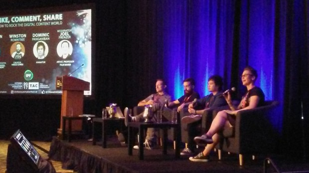 TAC Digital Content panelists, from left,  Joel Freezer, Winston Rowntree, Dominic Panganiban and Morghan Fortier