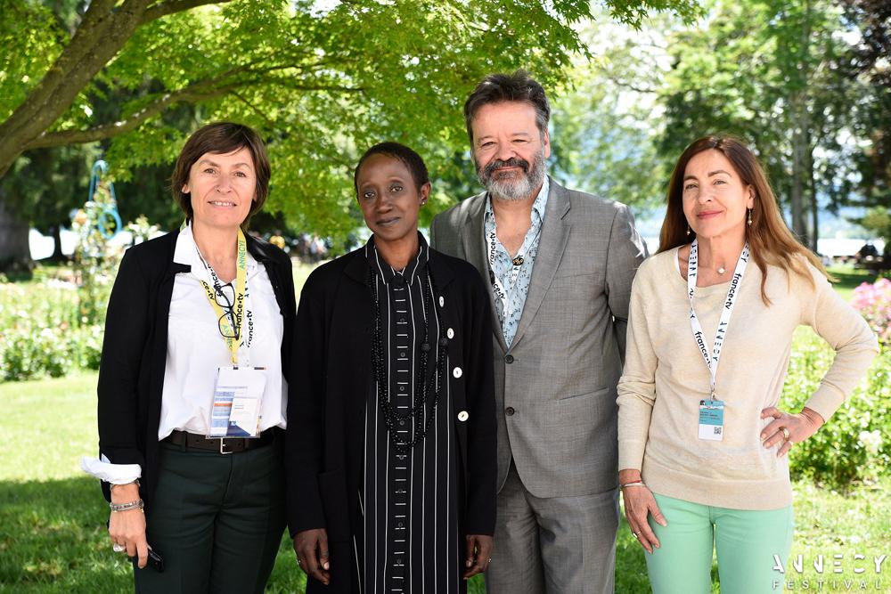 Annecy & Institut français welcome you to the 2021 celebration of African animation. L-R: Véronique Encrenaz, N'Goné Fall, Marcel Jean, Véronique Joo Aisenberg [F. Blin / Annecy Festival]