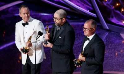 Toy Story 4 filmmakers Jonas Rivera, Josh Cooley and Mark Nielsen accept the 2020 Oscar for Best Animated Feature.