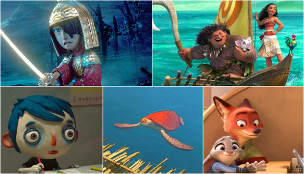 From Top Left to Bottom Right: Kubo and the Two Strings, Moana, My Life as a Zucchini, The Red Turtle, and Zootopia