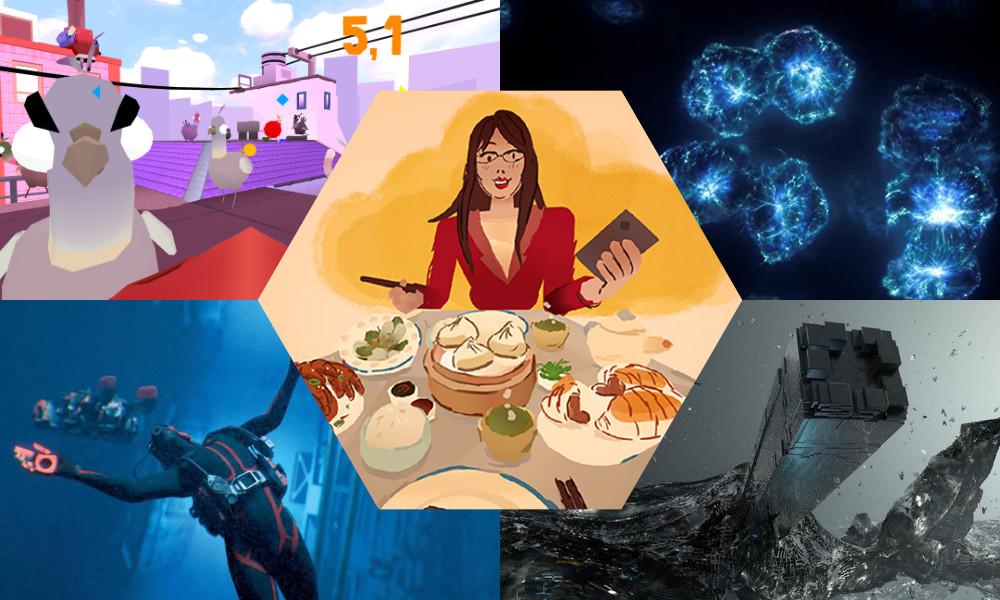 Clockwise from top left: VR Pigeons, Strands of Mind, Recording Entropia, Aqualia; center: Kteer Tayyeb