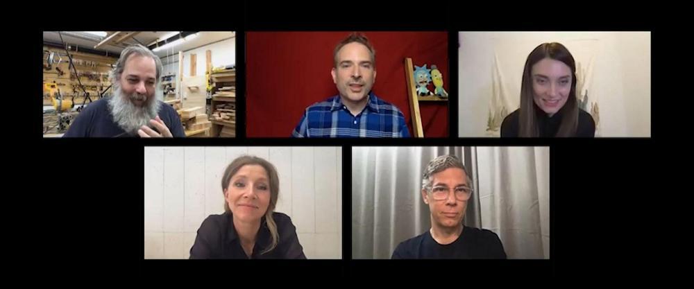 Clockwise from top left: Dan Harmon, Mike Schneider, Spencer Grammer, Chris Parnell and Sarah Chalke.