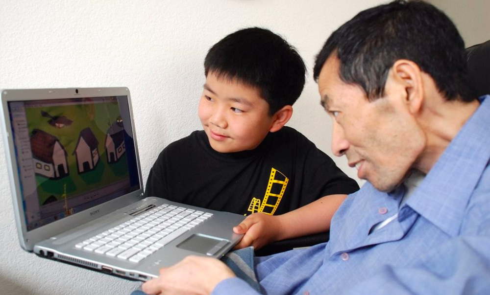 Perry Chen and his father