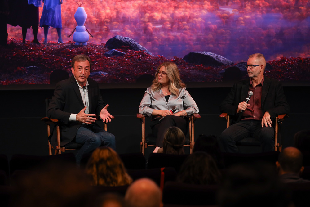 (L-R) Producer Peter Del Vecho, directors Jennifer Lee and Chris Buck discuss the film during Disney's Frozen II press day.