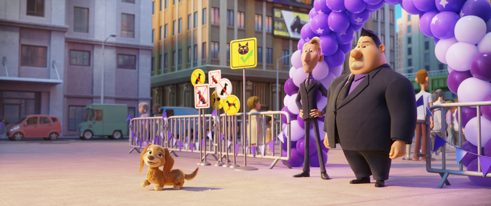 L-R: Liberty (Marsai Martin), Ruben (Dax Shepard) and Butch (Randall Park) in PAW Patrol: The Movie, from Paramount Pictures. [Courtesy of Spin Master]