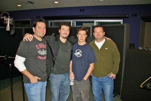 (The producers/cast of MTV's <em>Good Vibes</em>, pictured from left to right)<br> Brad Ableson - Supervising Director/Exec Producer, Danny McBride - voice of Miss Teets, David Gordon Green - Creator/Exec Producer, and Mike Clements - Exec Producer
