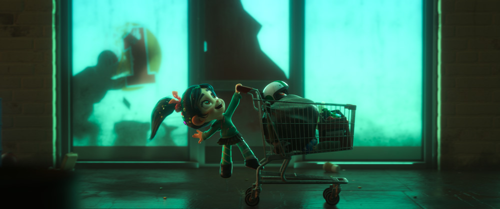 Big Hero 6 - Fred's lizard costume in shopping cart. Helmet from Big Hero 6