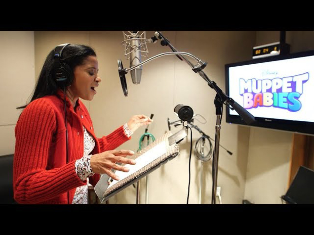 Renée Elise Goldsberry in recording booth