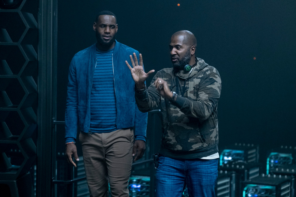 LeBron James (left) and director Malcolm D. Lee on the set of Warner Bros. Pictures' Space Jam: A New Legacy [Photo: Justin Lubin © Warner Bros. Entertainment Inc.]