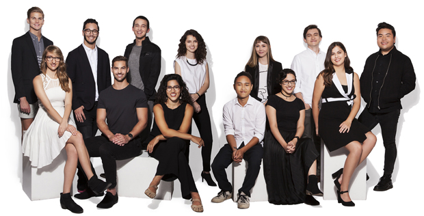 Front Row, Left to Right: Ellen Arnold, Kyle Leicht, Celia Nogales, Khoa Duy Duong, Stacey D'Andelet, Paige Bauer and Jun Cheng Robson Tan. Back Row, Left to Right: Philip Gleichauf, Griffin Goodman, Nick Marten, Tess Messina, Robin Thompson and Jake Wojenski. Photo by Matthew Holler