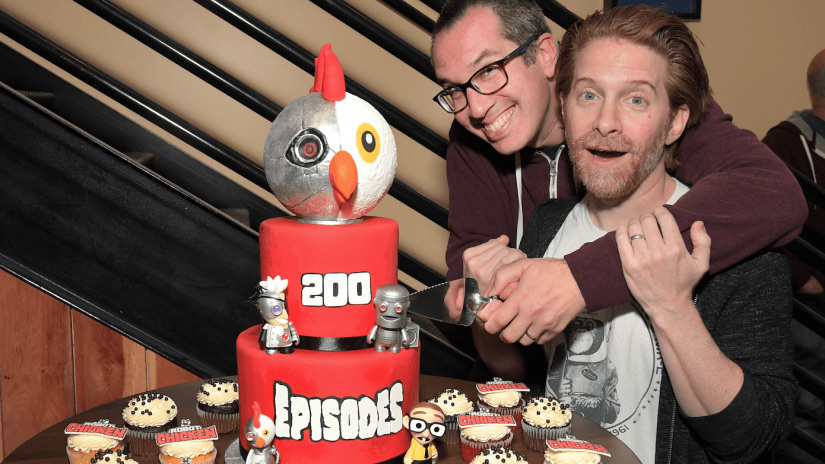 Creators Matt Senreich (left) and Seth Green celebrate the 200th episode of Robot Chicken, which airs later this season.