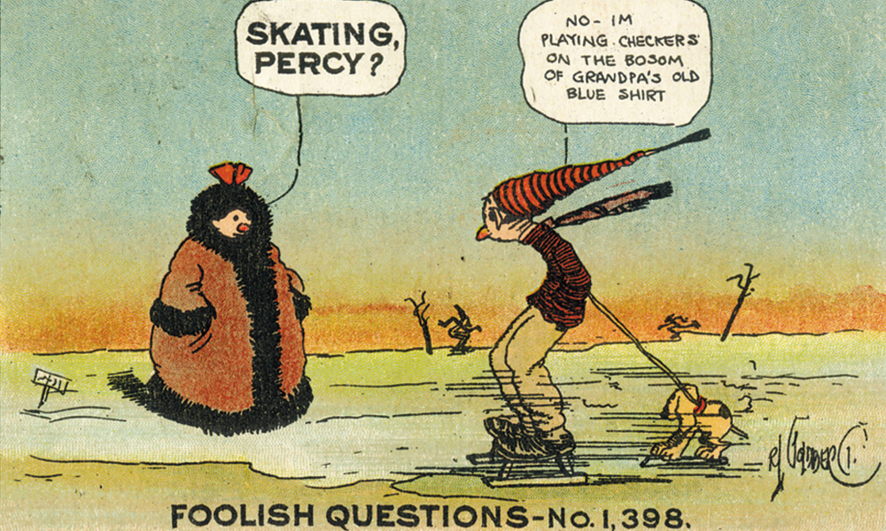 Rube Goldberg, Foolish Questions Postcard, c. 1910. Artwork Copyright © Rube Goldberg Inc. Al