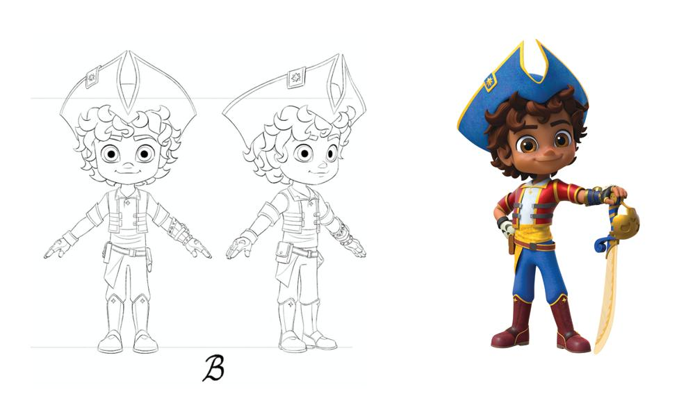 """""""Santi"""" character sketch and final design."""