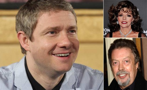 (left) Martin Freeman, (top right) Joan Collins and (bottom right) Tim Curry