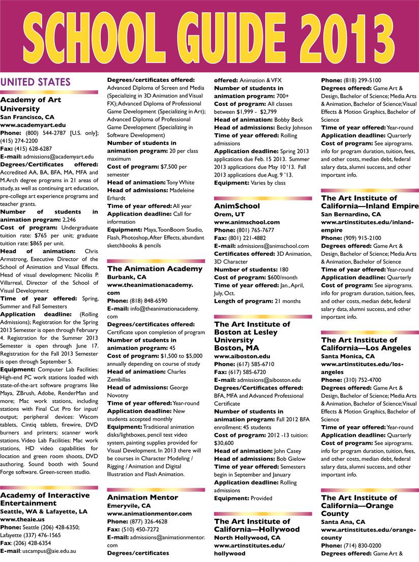 International Education & Career Guide | Animation Magazine