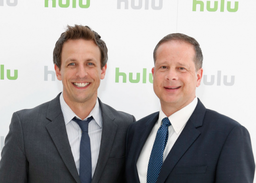 (from left) Seth Meyers and Michael Shoemaker