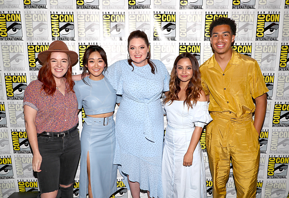 (L-R) Noelle Stevenson, Karen Fukuhara, Lauren Ash, Aimee Carrero and Marcus Scribner of DreamWorks She-Ra and the Princesses of Power at San Diego Comic-Con 2019 on July 19. (Photo by Joe Scarnici/Getty Images for DreamWorks Animation Television)