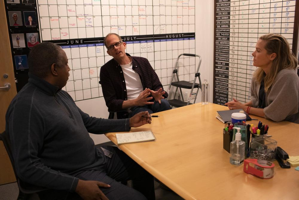 From left, writer/co-director Kemp Powers, director Pete Docter and producer Dana Murray