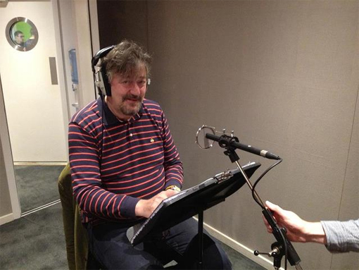 Stephen Fry recording The Lonely Dodo