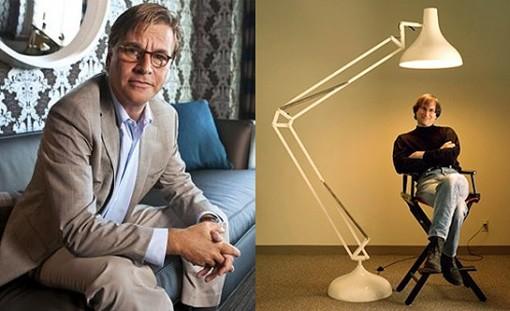 Aaron Sorkin (left) and Steve Jobs