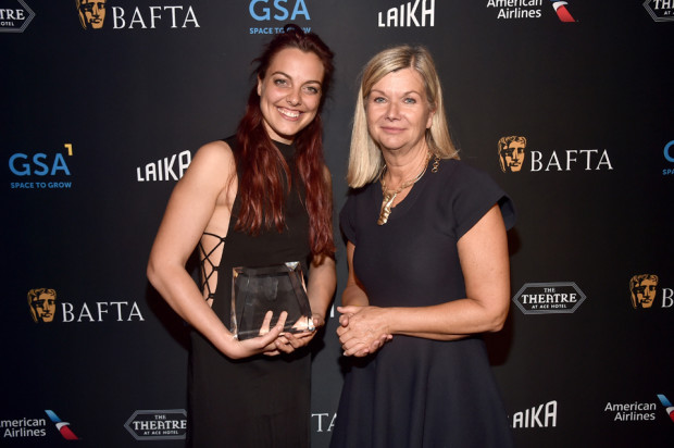 Lucia Bulgheroni, winner of the BAFTA Student Award Special Jury Prize, and BAFTA LA CEO, Chantal Rickards. [Photo: Alberto E. Rodriguez/Getty Images for BAFTA LA]